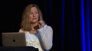 Helena Löfgren, leg. psykoterapeut föreläser om hjälpbehov hos första och andra generationens sektmedlemmar som hoppar av.
